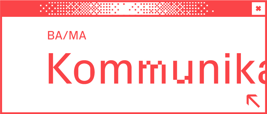 Weißes Browserfenster mit Wort Kommunikationsdesign in der Mitte