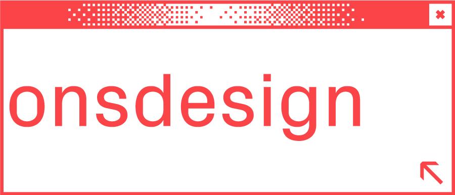 Weißes Browserfenster mit Wortabschnitt onsdesign in der Mitte