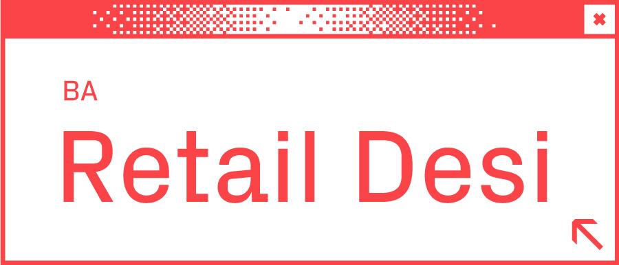 Weißes Browserfenster mit Wortabschnitt Retail Desi in der Mitte
