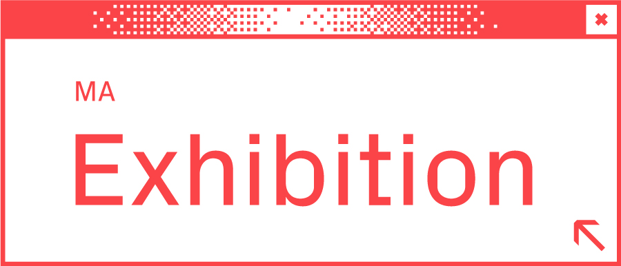 Weißes Browserfenster mit Wort Exhibition in der Mitte