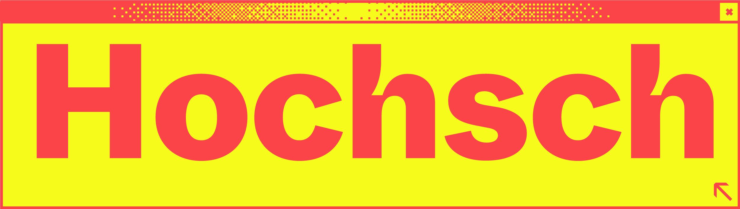 Weißes Browserfenster mit dem Wortabschnitt Hochs in der Mitte