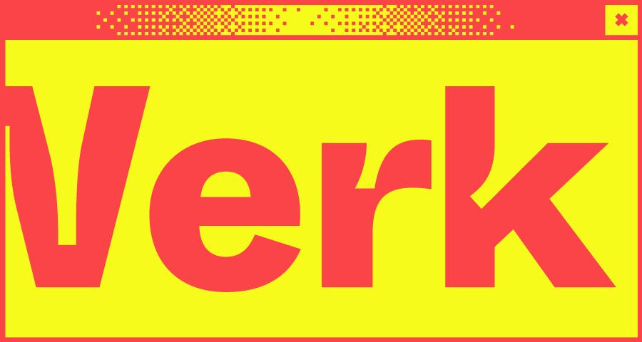 Schwarzes Bildschirmfenster mit dem Wort Werk in der Mitte