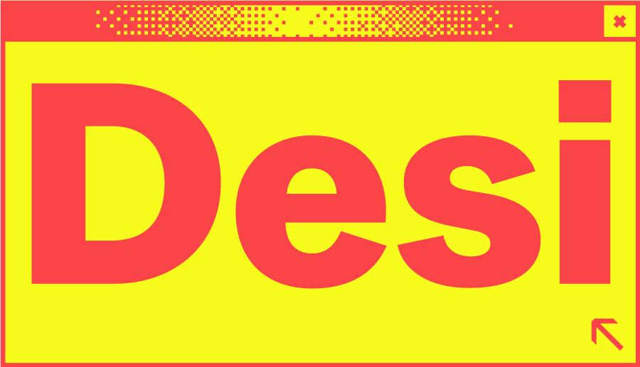 Rotes Browserfenster mit dem Wortabschnitt Desi in der Mitte
