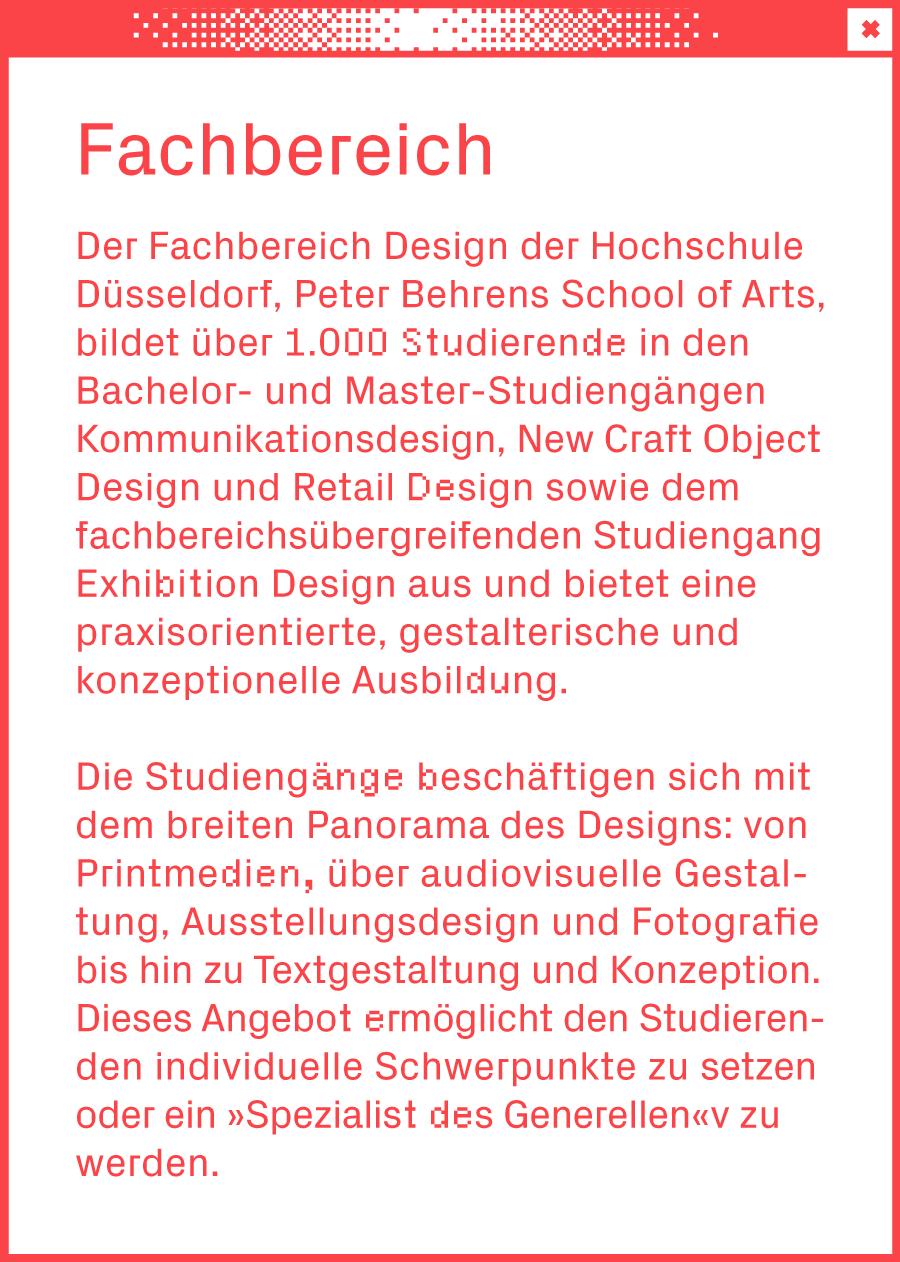 Weißes Browserfenster mit einem Text über den Fachbereich Design in der Mitte