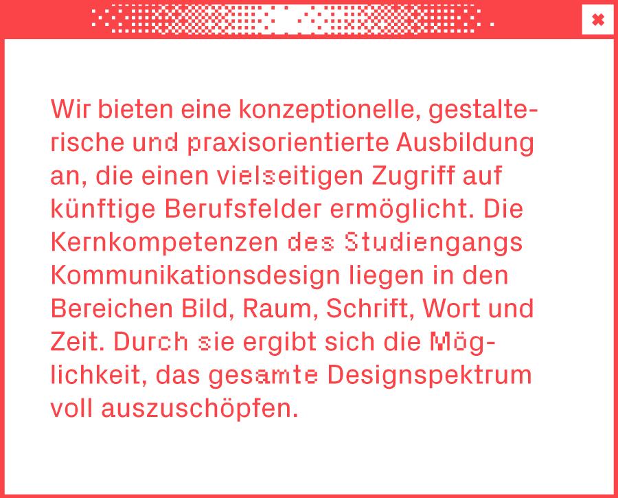 Weißes Browserfenster mit Text über den Studiengang Kommunikationsdesign