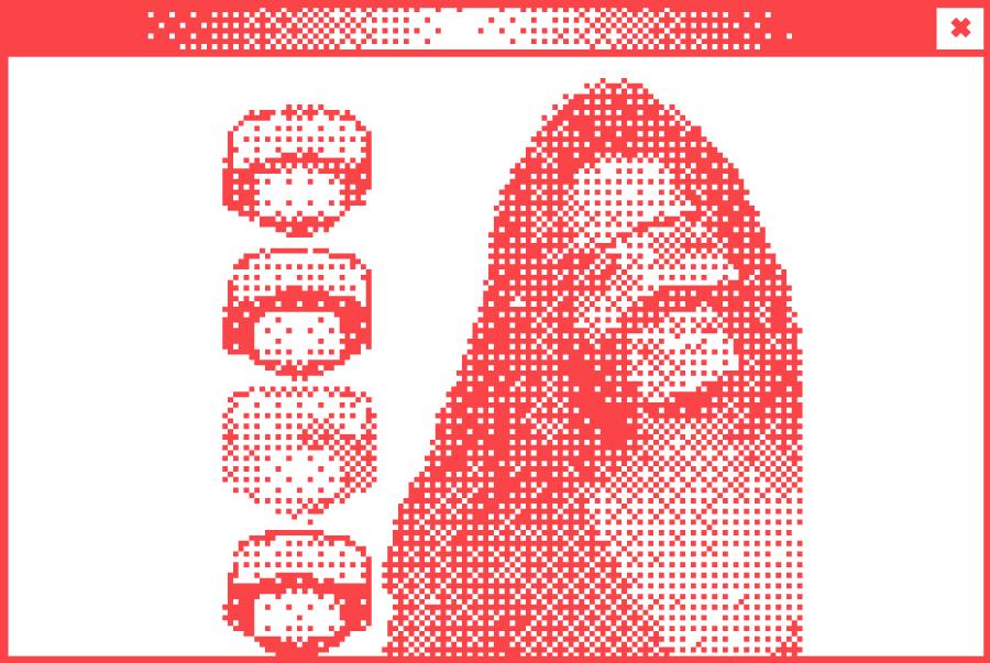 Weißes Browserfenster mit Pixelgrafik in der Mitte. Abbildung eines Stuhls