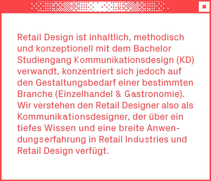 Weißes Browserfenster mit Text über den Studiengang Retail Design