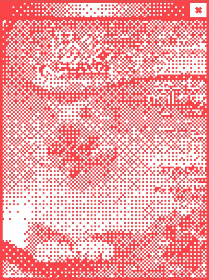 Weißes Browserfenster mit Pixelgrafik in der Mitte. Abbildung eines Raumplans mit Wegeführung