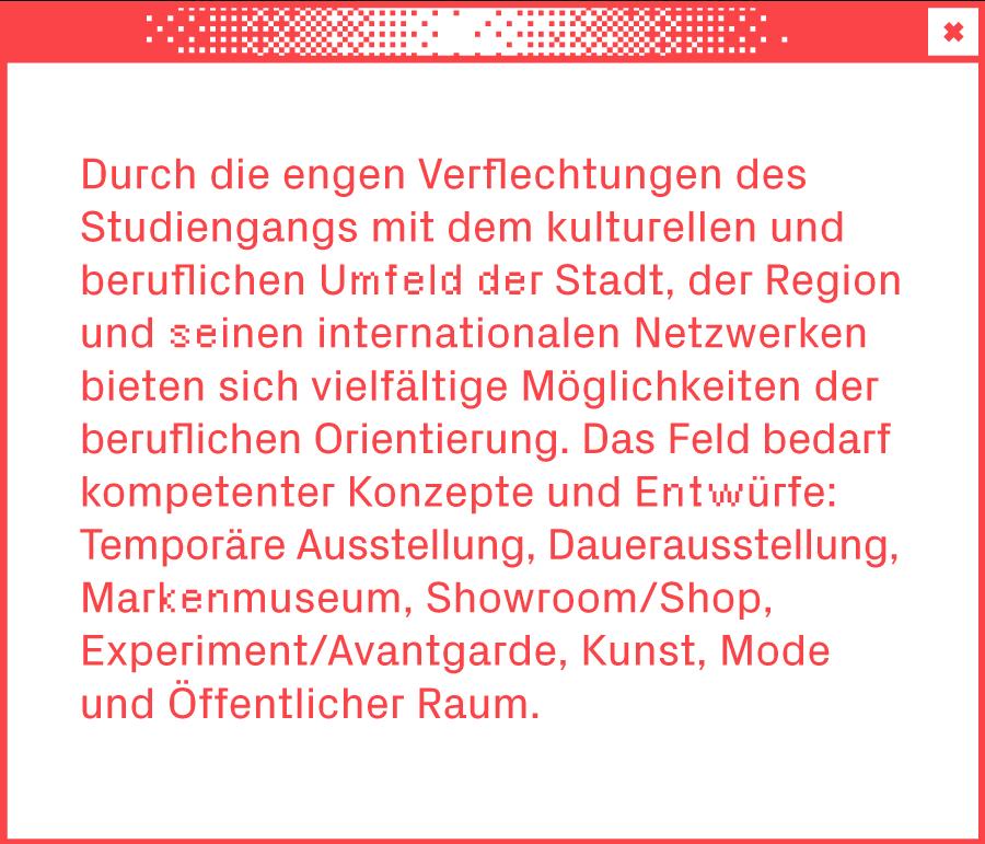 Weißes Browserfenster mit Text über den Studiengang Exhibition Design