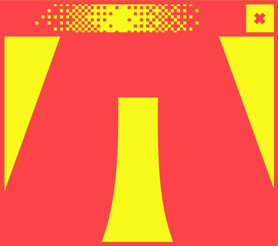 Weißes Browserfenster mit Pixelgrafik in der Mitte. Abbildung einer Vitrine mit Parallelogramm